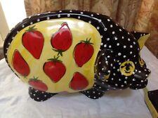 Turov Signed Hand Painted Pig  ART Ceramic figure  Animals strawberry pepper
