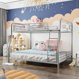 Metal Bunk Bed Full XL Over Queen Divided Into Two Beds Manhattan Bunk Bed New