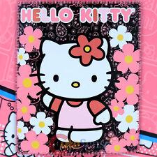 "Sanrio Hello Kitty Blanket  Fleece Throw Black Pink Flowers 50""x 60"""