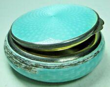 Silber Dose-Pillendose-Emaille-935Silber-Guilloche-Art Deco-Glas-61,6g-Art. 4409