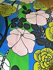 Marimekko Unelma Pink Blue Greens Black Floral Cotton Fabric  by the Half Yard