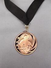 "bronze and black Wrestling medal black neck drape trophy 2"" diameter"