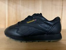 VINTAGE REEBOK CLASSIC LEATHER Q BLACK GOLD  KIDS YOUTH GS 5.5 Y  71-40674