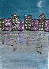 ACEO/ATC - Original Watercolour Painting - Midnight in Manhattan
