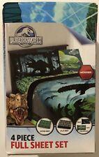 "Jurassic World ""Biggest Growl"" 4 Piece Microfiber Full Sheet Set Dinosaur"