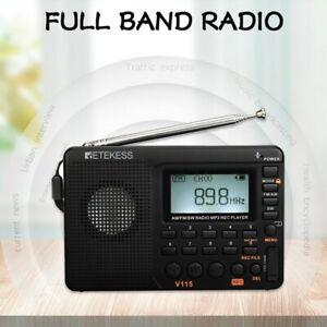 Radio AM FM SW Pocket Shortwave FM Speaker Support TF Card USB REC Recorder...