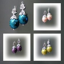 Glass Tibetan Silver Fashion Earrings