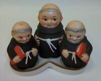 Vintage Goebel Friar Tuck Monk Salt & Pepper Lidded Sugar with Base Germany