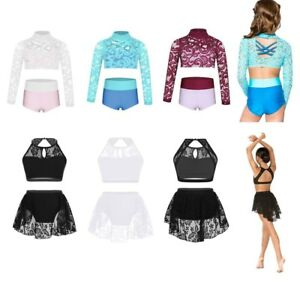 Girls Two-Piece Dancing Outfit Crop Top+Briefs Set Floral Lace Dancewear Costume