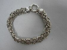 VINTAGE SIGNED ITALY MILOR STERLING SILVER CHUNKY CHAIN BRACELET