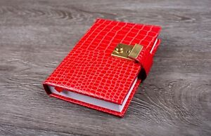 Croc Leather A6 Five Year Diary With Lock & Key Five Year Journal Book UK Made