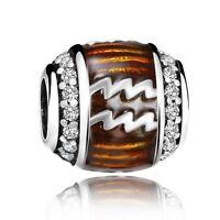 Constellation Aquarius European Bead Silver Charms Fit 925 Sterling Bracelets