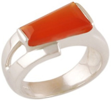 925 Sterling Silver 6.3 gm w/ Tomato Red Coral Cabochon Stone Ring Size 9