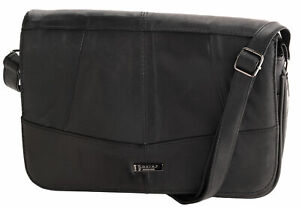 Ladies Soft Real Nappa Leather Flap Over Triple Section Zipped Shoulder Bag
