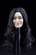 1/6 Shu Qi Asian Female Head Sculpt Black Curls F 12'' Girl Doll H-001