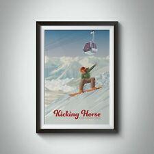More details for kicking horse canada snowboarding travel poster - framed  - bucket list prints