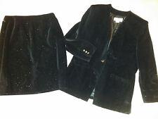 Liz Claiborne 2 Pc Jacket & Skirt Evening Suit Black Sparkling Velvet Sz 12/14