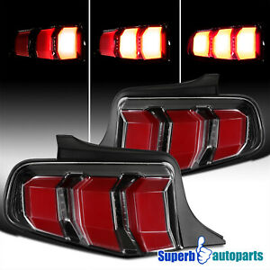 For 2010-2012 Ford Mustang Tail Lights Sequential Signal Lamps Shiny Black 10-12