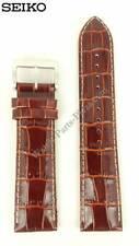 Watch Band Seiko Kinetic SKA569P1 Brown Leather Strap L00F H 22mm 5M62-0DB0