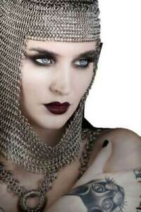 Armor Larp Re-enactment Knight Aluminum Silver Chainmail Coif Chain Mail Hood,