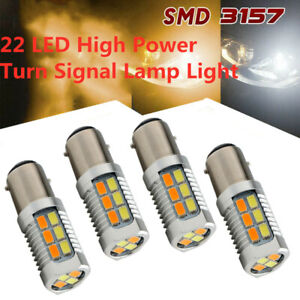 4x Amber White Dual Color Switchback 22 LED 1157 Front Turn Signal Light Bulbs