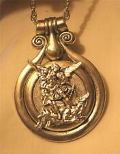 Striking Heavy St Michael Figural Medal Bevel Rim Silvertone Pendant Necklace