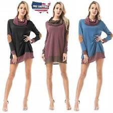 Women Casual Sweater Mini Short Dresses Jumper Long Sleeve Tunic Collar Tops US