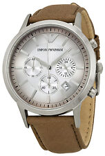 Emporio Armani AR2471 Classic White Dial Leather Strap Chronograph Men's Watch