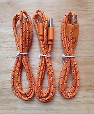 3x pcs 3ft 1M Lot ORANGE Braided MicroUSB Charger Cable for Samsung HTC LG DROID