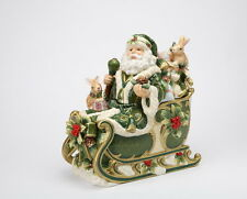 10301 Santa Claus Christmas Cookie Jar Sleigh Ride Holly Rabbit Forest Friend