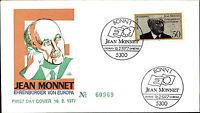 Ersttagsbrief 1977 FDC Stempel Bonn Erstausgabe 50 Pfennig JEAN MONNET Marke