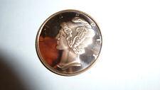 Collectors One Avdp Ounce .999 Pure Fine Copper Mercury Dime Coin