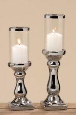 Windlicht Maseru 2 Stück Dekoration Tischdeko Fensterdeko Silber Steingut Kerze