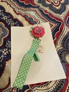 MUD PIE Baby PACIFIER PACY CLIP Embroidered Felt GIRL Ribbon PINK FLOWER Holder