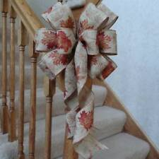 "10"" WIDE BURLAP TYPE BOW W/ FALL LEAVES, WIRED EDGE, FOR DECOR OR WEDDING PEWS"