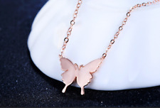 Butterfly Rose Gold GP Pendant Chain Necklace