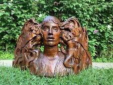 Fantastic American Art Nouveau Hand Carved Wood Woman Bust Statue, Rare Art Deco