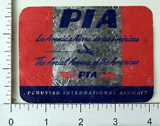 1930's-40's Peruvian International Airways PIA Luggage Label Poster Stamp E2