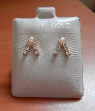"""NEW 14KT Gold Filled """"V"""" w/ CZ Studs Pearl  Earrings Young Girl Teenager USA"""