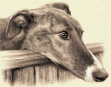 BRINDLE GREYHOUND dog - complete counted cross stitch kit