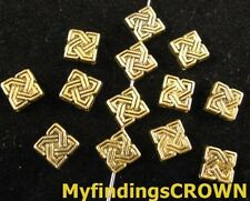 100pcs Antiqued gold Lucky knot square spacers FC867