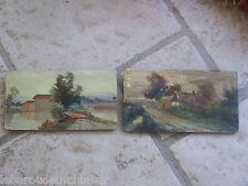 Deux petites peintures à huile sur bois fin 19s debut 20s signé par J.Cresp