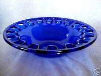 Collectible Very Large Cobalt Blue Blown Glass Bowl w/Cutouts - Made in Spain