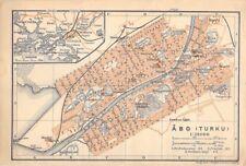 Abo Turku Finnland um 1900 historische alte Landkarte Stadtplan map