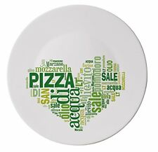 Extra Large Italian Pizza Plate With Green Heart Design