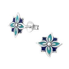 925 Sterling Silver Pretty Blue Green Turquoise Flower Kids Girls Women Earrings