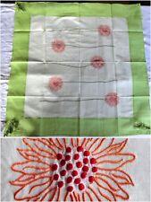 nappe 90x90 broderie tournesol orange rouge vert coton ecru  pompon neuf 25e9