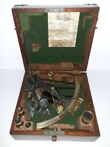 Vintage Sextant By J. Hicks 8 9 10 Hatton Garden London with original box
