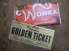 2005 Willy Wonka Replica Wonka ( Triple Dazzle Caramel ) Bar & Ticket
