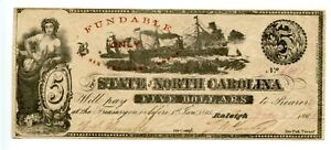 1862.  $5  Raleigh, State of North Carolina  CR# 87. From Amon Carter Collection